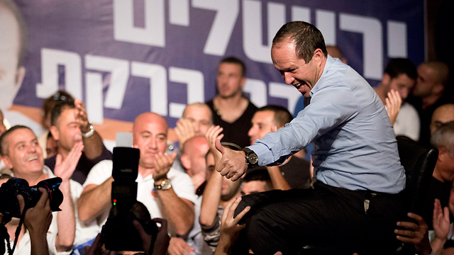 Barkat celebrates in Jerusalem (Photo: EPA)