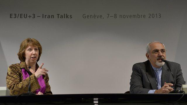 Ashton, Zarif in Geneva (Photo: EPA)