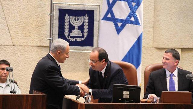 Netanyahu, Hollande at Knesset (Photo: Knesset PR)