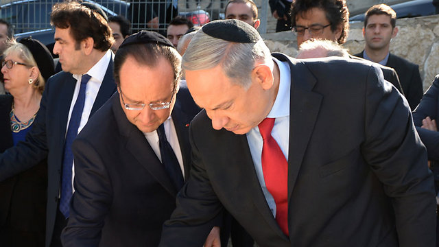 French President Francois Hollande and Prime Minsiter Benjamin Netanyahu (Photo: Haim Zach, GPO)