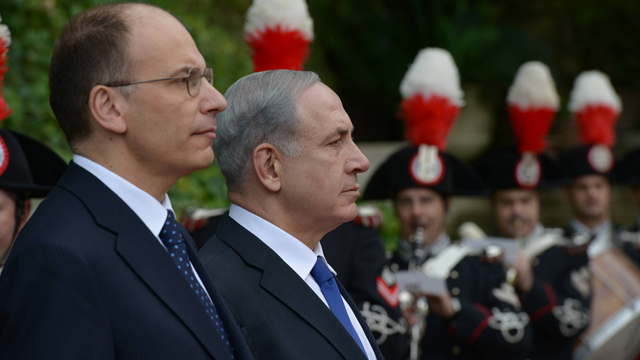 PM, with Italy's Letta (Photo: Amos Ben Gershom, GPO)