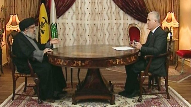 Nasrallah interview on OTV (Photo: AFP)
