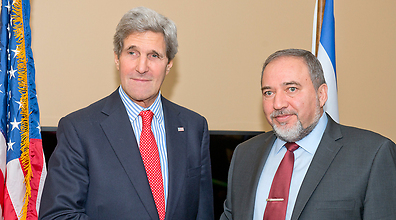 John Kerry and Avigdor Lieberman (Photo: Shahar Azran)