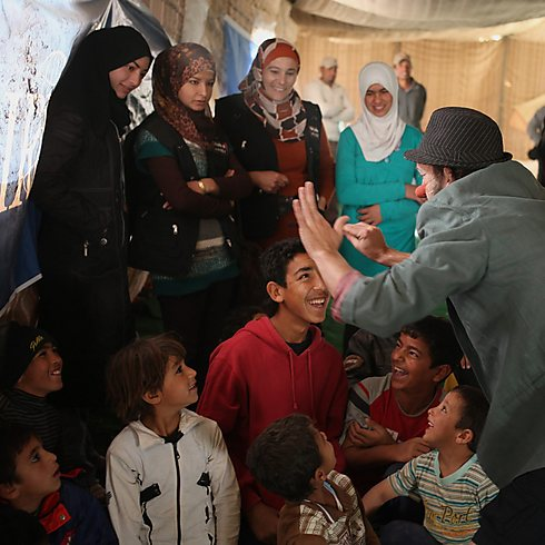 Syrian women and children at a refugee camp in Jordan (Photo: AP) (Photo: AP)