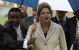 Dilma Rousseff, the president of Brazil, at the ceremony (Photo: AFP)