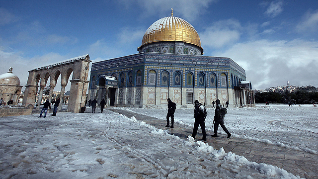 Snow at Al-Aqsa Mosque (Photo: EPA)