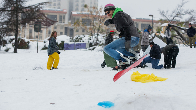Snowboarding in Jerusalem (Photo: Ohad Zwigenberg)