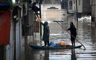 Rain turns Gaza streets into canals (Photo: MCT)