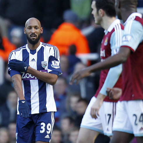 Anelka performing the quenelle (Photo: AFP)