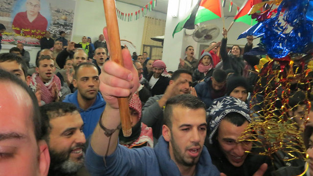 Previous round of Palestinian prisoners' release (Photo: Hassan Shaalan)
