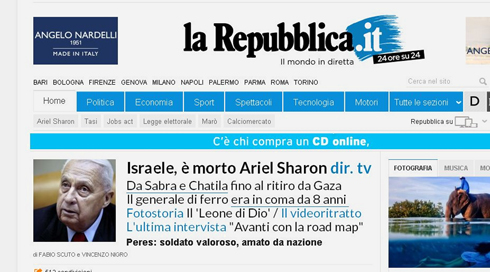 "The Italian ""La Repubblica"" notes Sharon's involvement in the Sabra and Shatila massacre in their byline"