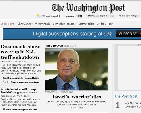 The Washington Post terms Sharon 'Israel's 'Warrior''
