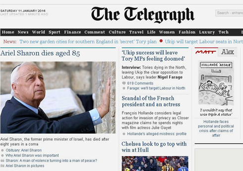 "The British ""Telegraph"" feature a piece by Chief Foreign Correspondent and former Middle East correspondent David Blaire, titled ""Why Ariel Sharon was important"""