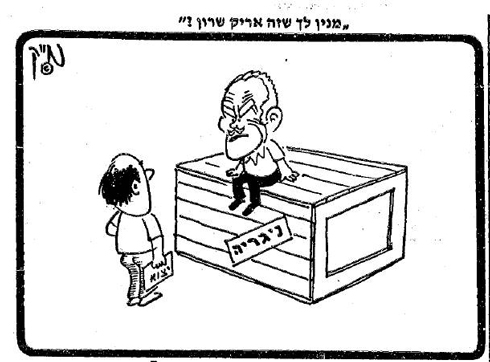 "Israeli export: ""How do you know that this is Arik Sharon?""; The Likud sitting on a Nigerian crate (Yedioth Ahronoth archive)"