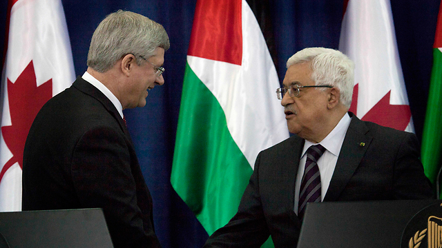 Prime Minister Harper and President Abbas (Photo: AP)