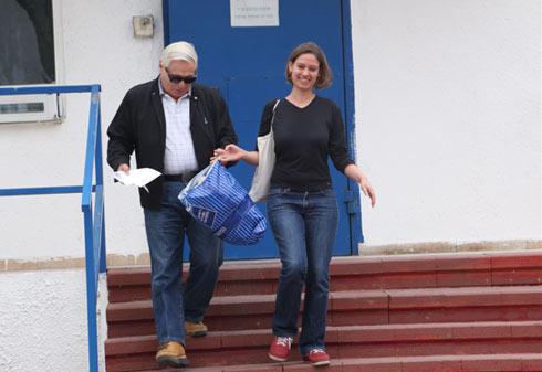 Kamm leaving jail (Photo: Motti Kimchi) Photo: Motti Kimchi
