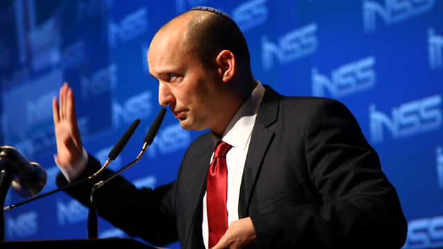 Bennett at INSS conference, Tuesday (Photo: Motti Kimchi)