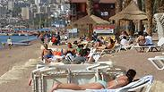 Eilat beach, Saturday Photo: Meir Ohayon