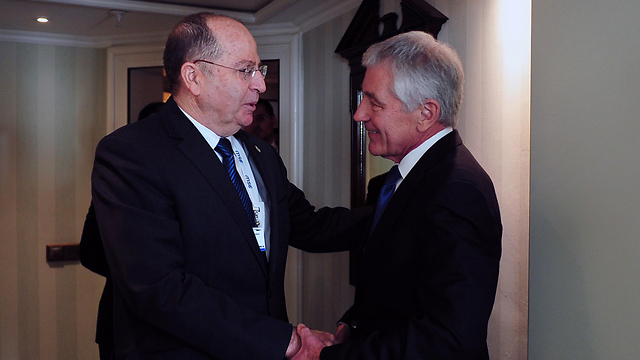Defense Ministry Moshev Yaalon and Defense Secretary Chuck Hagel (Photo: Defense Minister Press Corp)