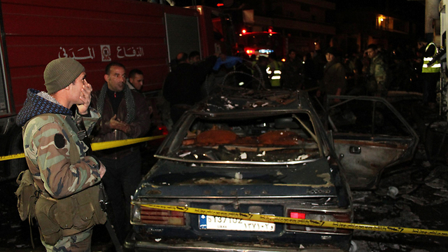The scene of the bombing in Hermel (Photo: AFP)