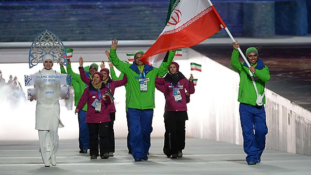 Iranian delegation with modest Snegurochka (Photo: AFP)