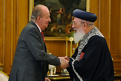 Spanish king with Sephardic rabbi. 'He asked a lot of questions about the Sephardic Jewry and was very interested' (Photo: Sami Cohen)