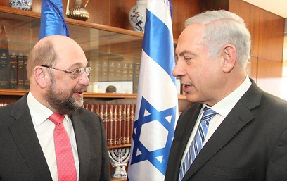 Schulz and Netanyahu (Photo: Courtesy of the Knesset) (Photo: Courtesy of the Knesset)