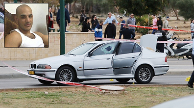 Taar Lala's car at the scene of the shooting. (Photo: Motti Kimchi)