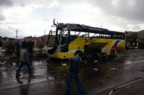The tourist bus hit in Sinai explosion