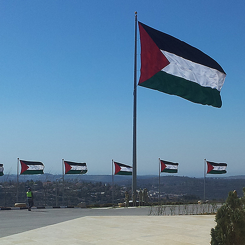 Palestinian flag waves over the future city