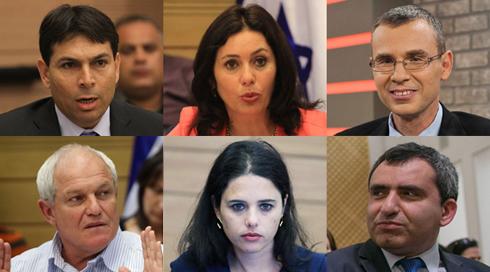 Signatories of the letter: Danny Danon, Miri Regev, Yariv Levine, Haim Katz, Ayelet Shaked, Ze'ev Elkin (Photo: Gil Yohanan, Benny Douth, Alex Kolomoisky, Ohad Zwigenberg)
