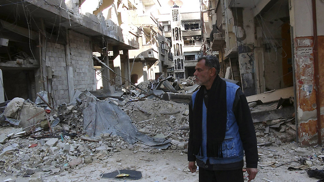 Wreckage in the Yarmouk refugee camp caused by fighting between Assad regime and rebels (Photo: Reuters)