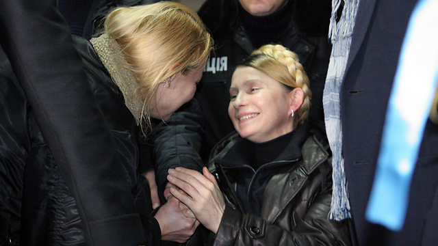 Tymoshenko welcomed by supporters (Photo: AFP)