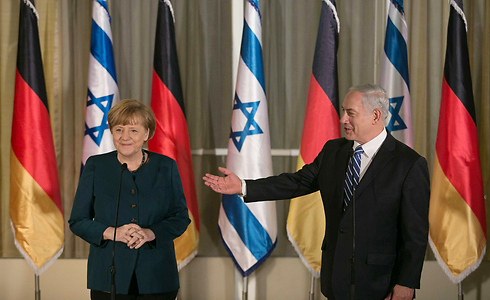 Merkel and Netanyahu at the initial press conference (Photo: Noam Moskowitz)