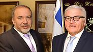 Foreign Minister Avigdor Lieberman and Frank-Walter Steinmeier Photo: EPA