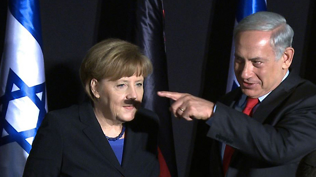 Prime Minister Netanyahu casts an unfortunate shadow on German Chancellor Merkel (Photo: AFP)