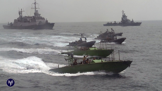 IDF seizing of Iranian arms shipment (Photo: IDF Spokesperson's Unit)
