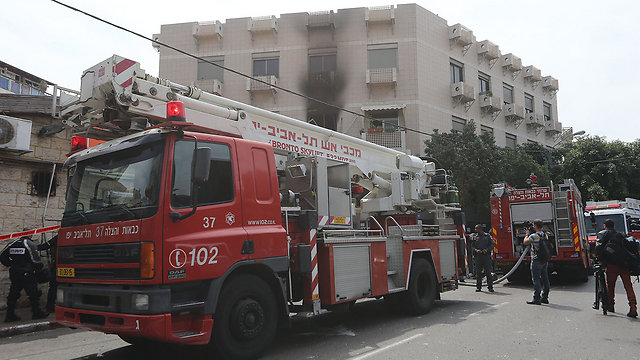 Tel Aviv Fire Department truck (Photo: Yaron Brenner)