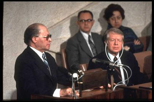 Menachem Begin and Jimmy Carter in 1979 (Photo: Yaakov Saar/GPO)