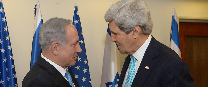 Netanyahu with Kerry (Photo: GPO)