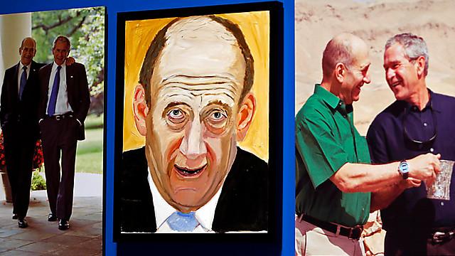 Olmert, oil on canvas (Photo: AP)