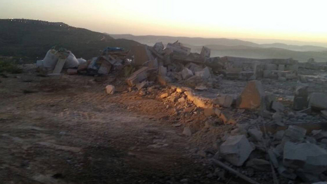 Demolished structures in Yitzhar (Photo: Yitzhar Spokesman) (Photo: Yitzhar Spokesman)