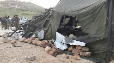 Destroyed tent used by IDF reservists (Photo: IDF Spokesman)