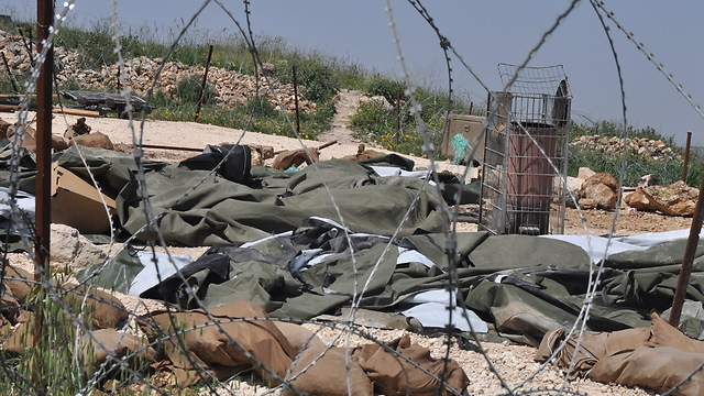 Destroyed IDF post at Yitzhar (Photo: George Ginsburg) (Photo: George Ginsburg)
