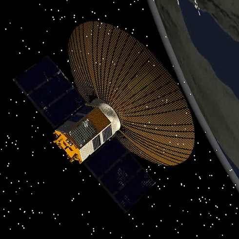 Computerized model of Israeli satellite Ofek 10 in orbit. (Photo: Defense Ministry)