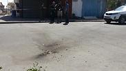 Rocket hits road in Sderot Photo: Roee Idan