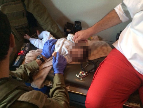 A Palestinian baby who suffered respiratory arrest treated by IDF soldiers