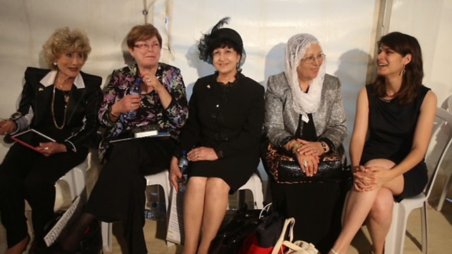 Right to left: Dr. Kira Radinsky, Hindia Suleiman, Rabbi Adina Bar Shalom, Maxine Fassberg and Miriam Zohar (Photo: Motti Kimchi) (Photo: Motti Kimchi)