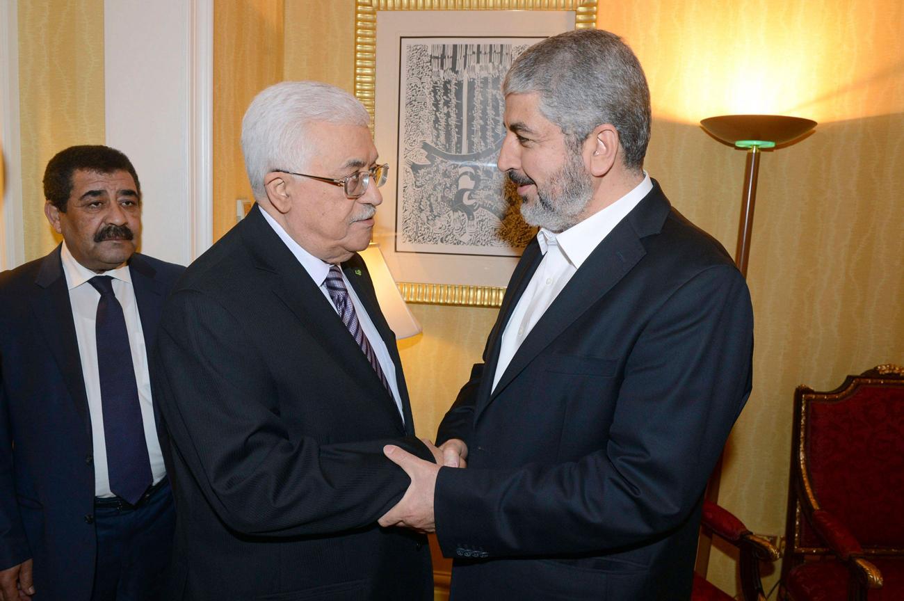 Unity: Fatah's Abbas and Hamas' Meshal Photo: Reuters