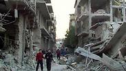 פיצוץ פצצה לחימה ב חומס סוריה Photo: AP